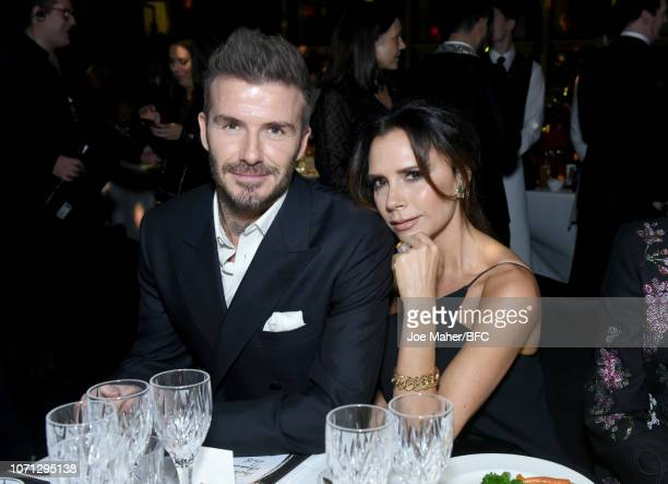 David Beckham and Victoria Beckham attend The Fashion Awards 2018 In Partnership With Swarovski at Royal Albert Hall on December 10 2018 in London...