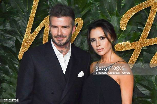 David Beckham and Victoria Beckham attend the Fashion Awards 2018 in partnership with Swarovski at Royal Albert Hall on December 10, 2018 in London,...