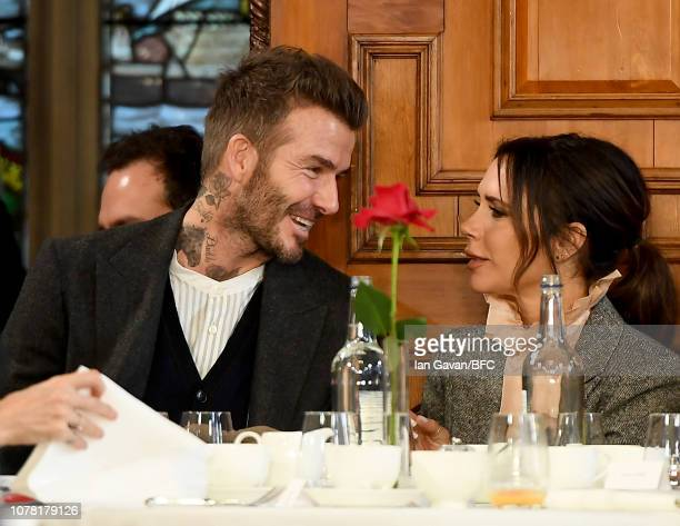 David Beckham and Victoria Beckham attend the Kent Curwen presentation during London Fashion Week Men's January 2019 at Two Temple Place on January 6...