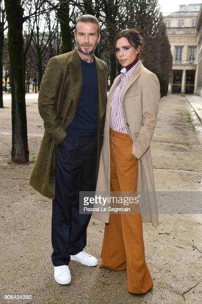David Beckham and Victoria Beckham attend the Louis Vuitton Menswear Fall/Winter 2018-2019 show as part of Paris Fashion Week on January 18, 2018 in...