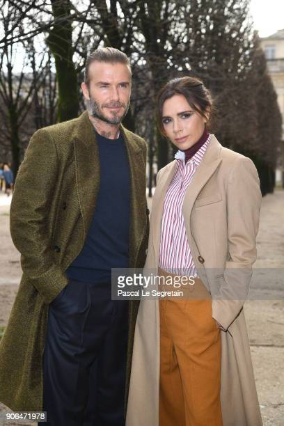 David Beckham and Victoria Beckham attend the Louis Vuitton Menswear Fall/Winter 20182019 show as part of Paris Fashion Week on January 18 2018 in...