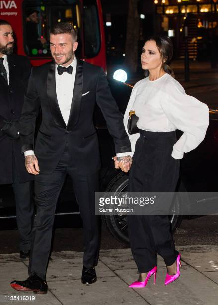 David Beckham and Victoria Beckham attend the Portrait Gala 2019 at the National Portrait Gallery on March 12 2019 in London England