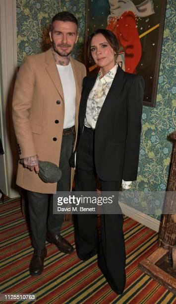 David Beckham and Victoria Beckham attend the Victoria Beckham x YouTube Fashion Beauty after party at London Fashion Week hosted by Derek Blasberg...