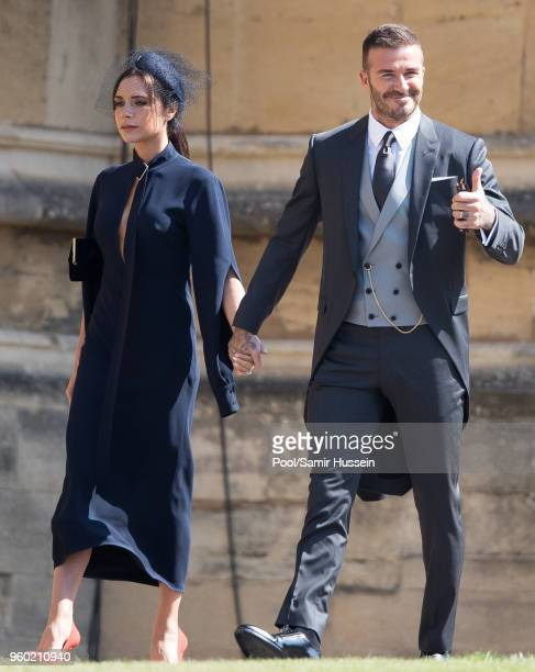 David Beckham and Victoria Beckham attend the wedding of Prince Harry to Ms Meghan Markle at St George's Chapel Windsor Castle on May 19 2018 in...