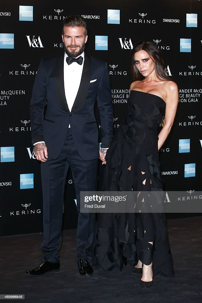 David Beckham and Victoria Beckham attends a private view for the 'Alexander McQueen: Savage Beauty' exhibition at Victoria & Albert Museum on March 12, 2015 in London, England.