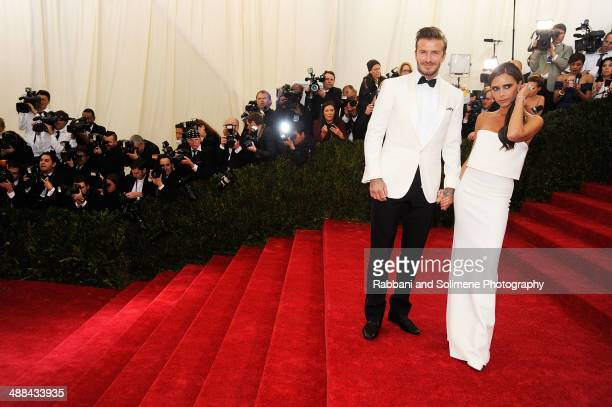 David Beckham and Victoria Beckham attends the 'Charles James Beyond Fashion' Costume Institute Gala at the Metropolitan Museum of Art on May 5 2014...