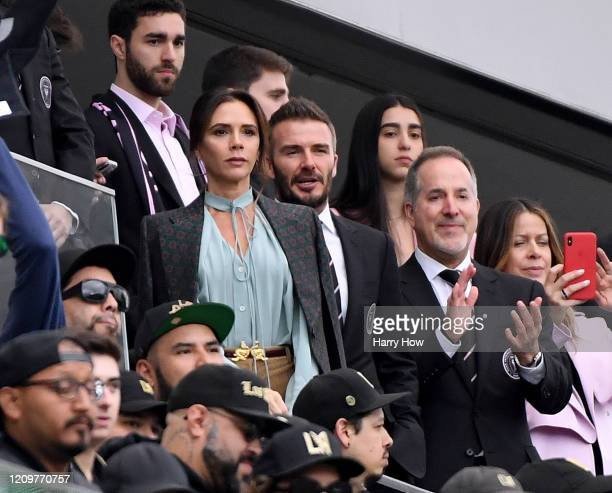 David Beckham and Victoria Beckham before the game between the Inter Miami CF and the Los Angeles FC at Banc of California Stadium on March 01, 2020...