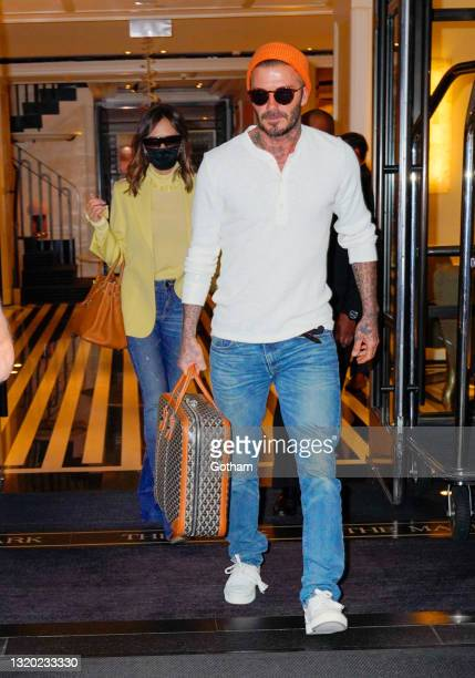 David Beckham and Victoria Beckham depart their hotel on May 26, 2021 in New York City.