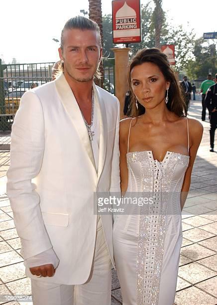 David Beckham and Victoria Beckham during 2003 MTV Movie Awards Arrivals at The Shrine Auditorium in Los Angeles California United States