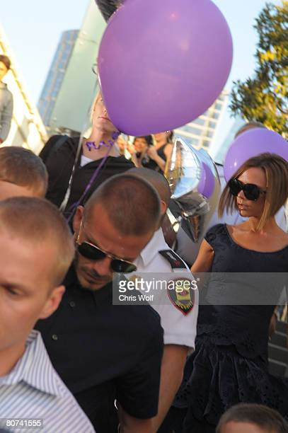 David Beckham and Victoria Beckham leave the Pink Taco restaurant on April 17 2008 in Century City California