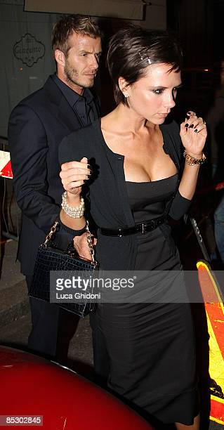 David Beckham and Victoria Beckham leaving 'Da Giacomo' restaurant on March 8 2009 in Milan Italy