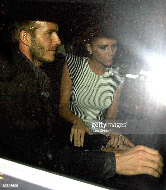 David Beckham and Victoria Beckham leaving 'La Risacca' restaurant on March 9 2009 in Milan Italy