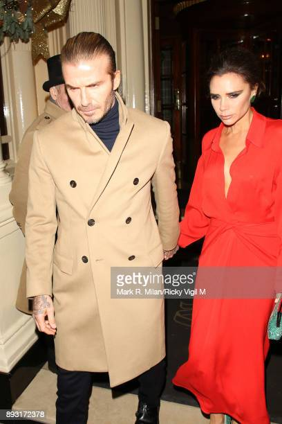 David Beckham and Victoria Beckham leaving the Connaught Hotel on December 14 2017 in London England