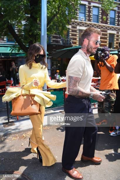 David Beckham and Victoria Beckham seen out for lunch downtown Manhattan on May 26, 2021 in New York City.