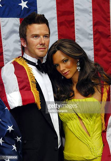 David Beckham and Victoria Beckham Wax Figures during David Beckham and Victoria Beckham Wax Figures Welcomed by George W Bush Wax Figure to Madame...