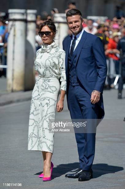 David Beckham and wife Victoria Beckham attend the wedding of real Madrid football player Sergio Ramos and Tv presenter Pilar Rubio at Seville's...