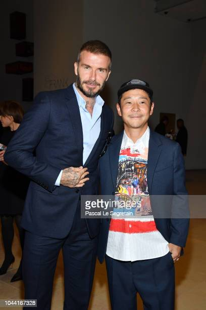 David Beckham and Yusaku Maezawa attend the Opening Of The New Exhibitions JeanMichel Basquiat And Egon Schiele At The Fondation Louis Vuitton at...