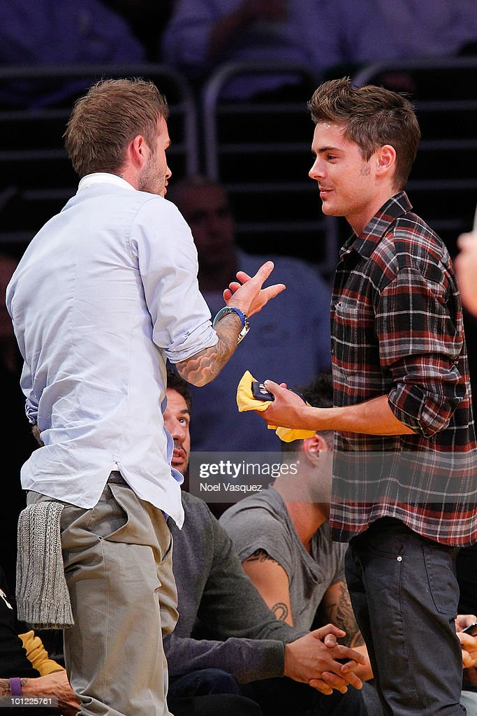 David Beckham (L) and Zac Efron attend Game Five of the Western Conference Finals between the Phoenix Suns and the Los Angeles Lakers during the 2010 NBA Playoffs at Staples Center on May 27, 2010 in Los Angeles, California.