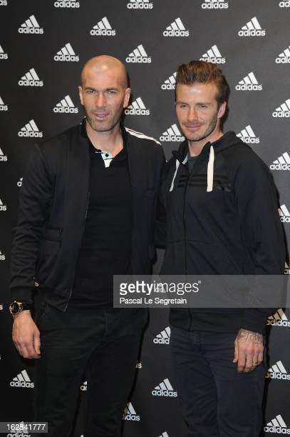 David Beckham and Zinedine Zidane attend an autograph session at adidas Performance Store ChampsElysees on February 28 2013 in Paris France