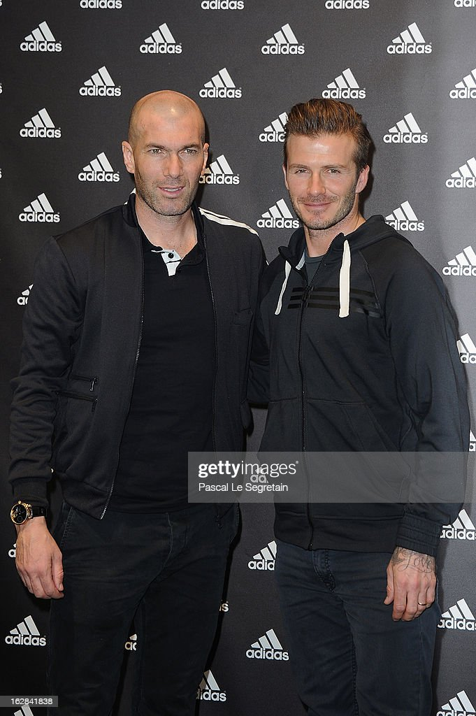 David Beckham And Zinedine Zidane Attend An Autograph Session At The adidas Store