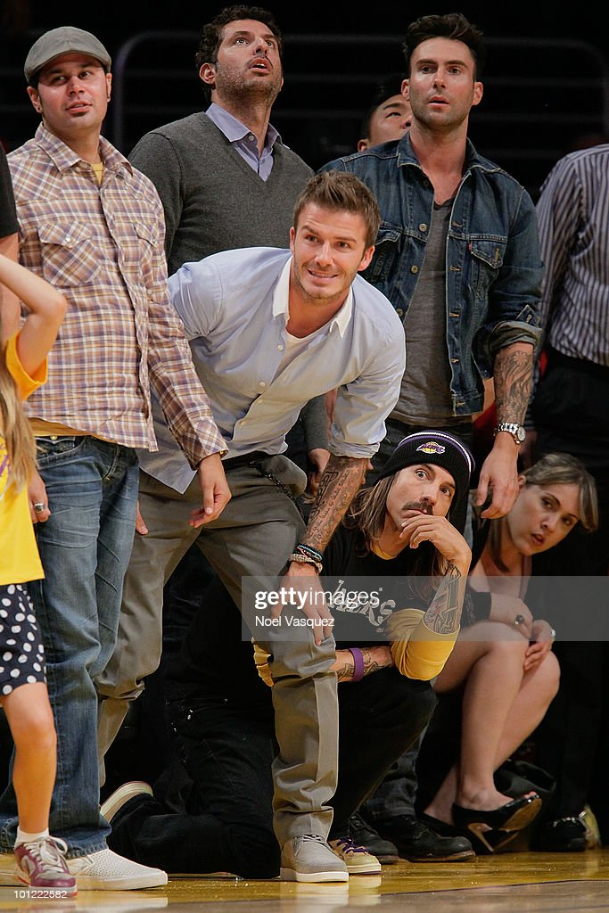 David Beckham, Anthony Kiedis and Adam Levine attends Game Five of the Western Conference Finals between the Phoenix Suns and the Los Angeles Lakers during the 2010 NBA Playoffs at Staples Center on May 27, 2010 in Los Angeles, California.