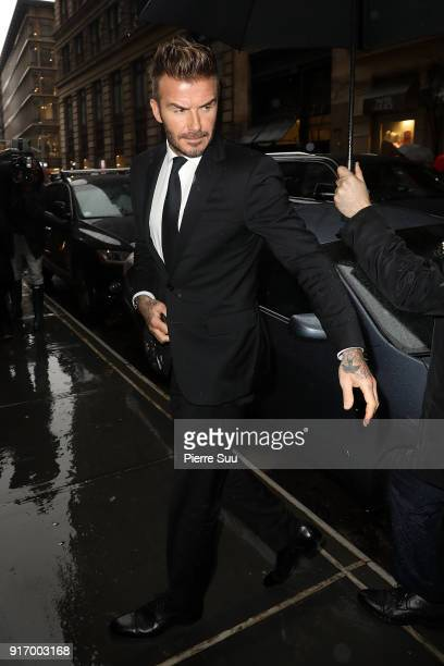 David Beckham arrives at Balthazar restaurant on February 11 2018 in New York City