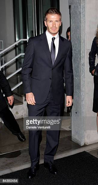 David Beckham arrives at the Emporio Armani show as part of Milan Fashion Week Autumn/Winter 2009/2010 Menswear on January 18, 2009 in Milan, Italy.