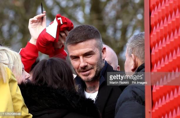 David Beckham arrives at the ground for the Vanarama National League match at the Peninsula Stadium Salford