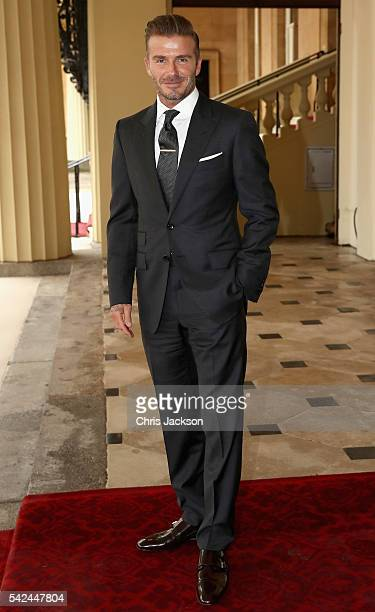 David Beckham arrives for the Queen's Young Leaders Awards at Buckingham Palace on June 23 2016 in London England