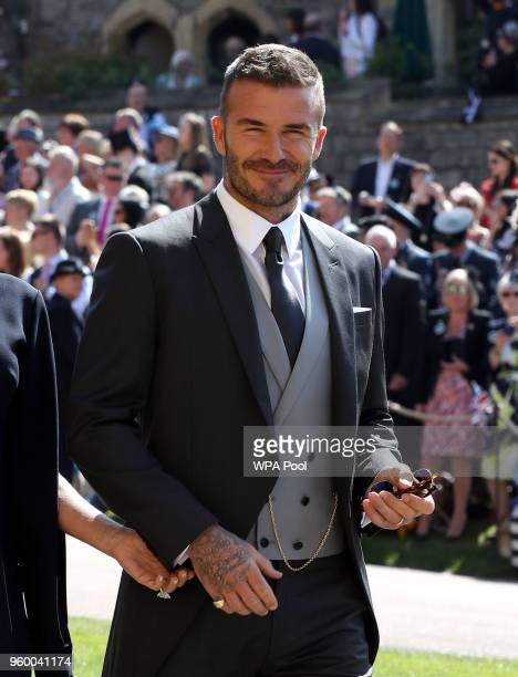 David Beckham arrives for the wedding ceremony of Britain's Prince Harry and US actress Meghan Markle at St George's Chapel Windsor Castle on May 19...