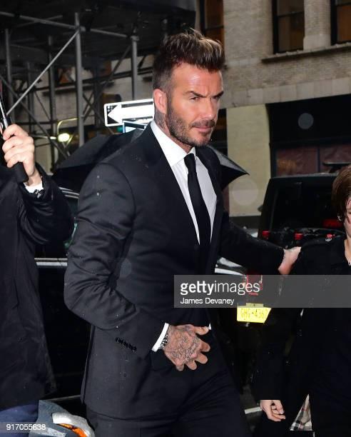 David Beckham arrives to Balthazar on February 11 2018 in New York City