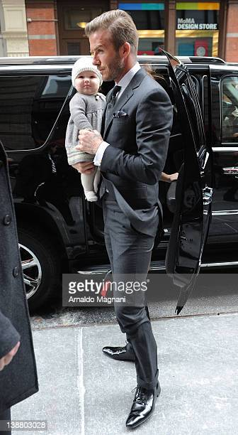 David Beckham arrives with his daughter Harper on February 12 2012 in New York City