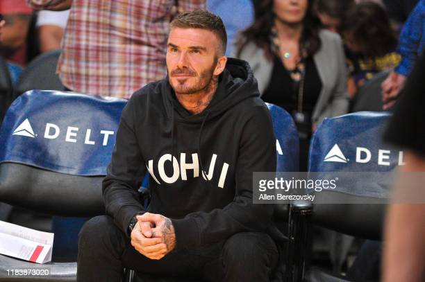 David Beckham attends a basketball game between the Los Angeles Lakers and the Charlotte Hornets at Staples Center on October 27 2019 in Los Angeles...