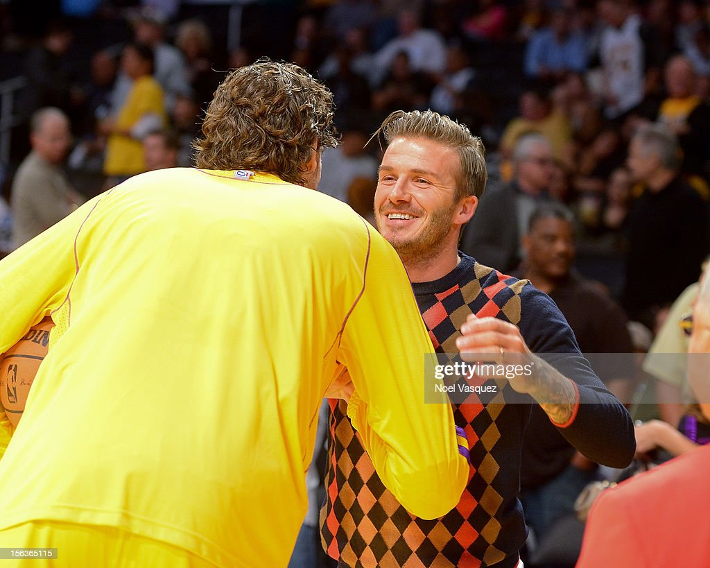 David Beckham attends a basketball game between the San Antonio Spurs and the Los Angeles Lakers at Staples Center on November 13, 2012 in Los Angeles, California.