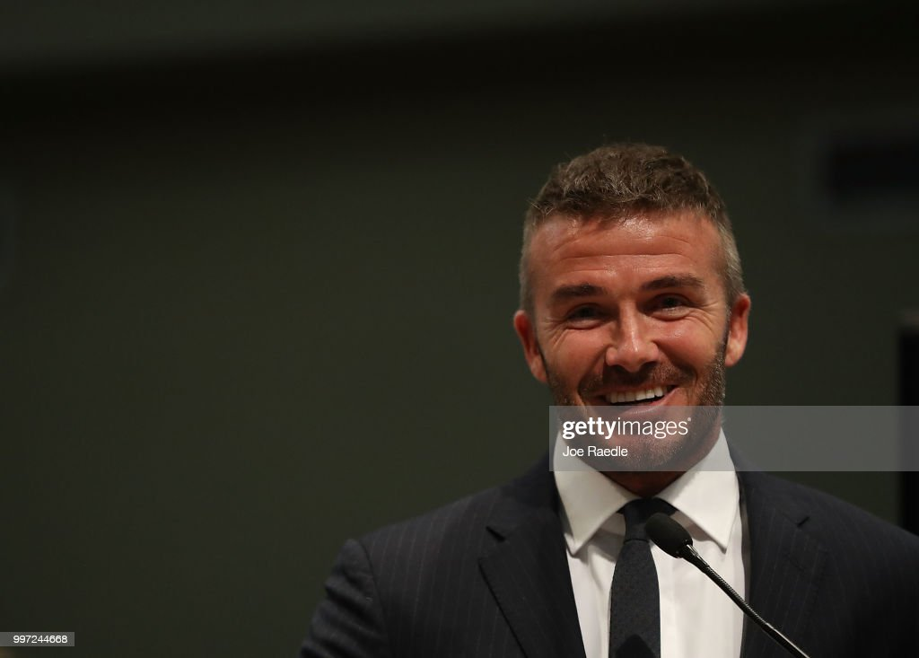 David Beckham attends a meeting at the Miami City Hall during a public hearing about building a Major League soccer stadium on a public golf course on July 12, 2018 in Miami, Florida. Mr. Beckham and his partners attended the meeeting at the City of Miami during a public hearing in their effort to build a Major League Soccer stadium in the City of Miami for their professional soccer team.