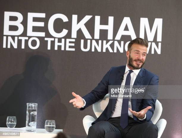 David Beckham attends a photocall to launch David Beckham Into The Unknown at The Serpentine Sackler Gallery on June 2 2014 in London England