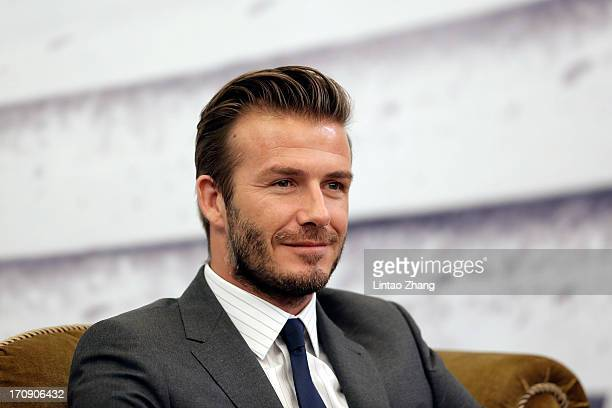David Beckham attends a press conference at Regal International East Asia Hotel on June 20, 2013 in Shanghai, China.