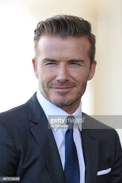 David Beckham attends a press conference to announce plans for Major League Soccer at PAMM Art Museum on February 5 2014 in Miami Florida
