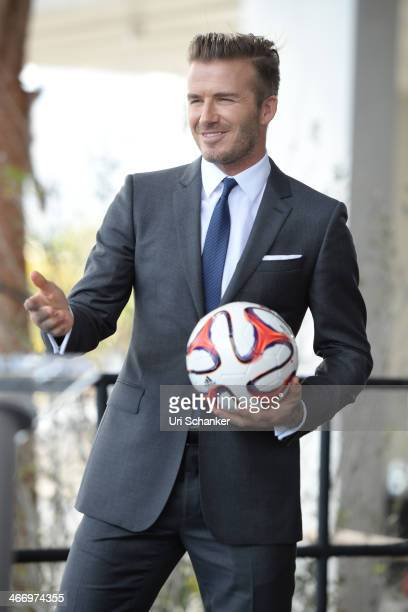 David Beckham attends a press conference to announce plans to launch a new Major League Soccer franchise at PAMM Art Museum on February 5 2014 in...