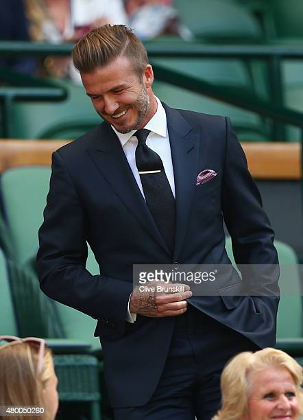 David Beckham attends day ten of the Wimbledon Lawn Tennis Championships at the All England Lawn Tennis and Croquet Club on July 9 2015 in London...