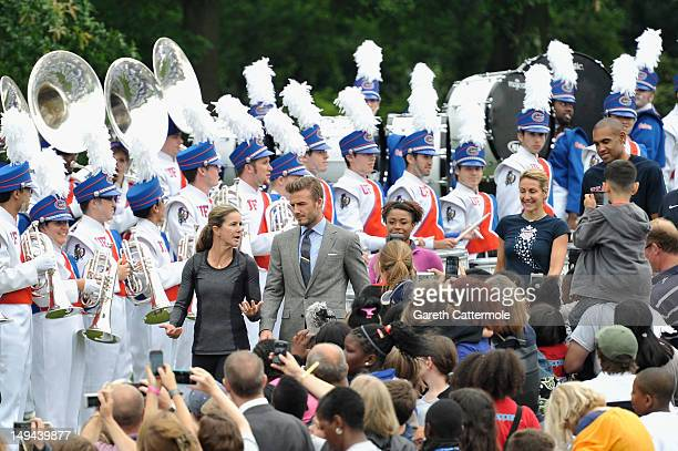 """David Beckham attends First Lady Michelle Obama's """"Let's Move!"""" campaign event at the US Ambassador to the UK Louis Susman's estate on July 27, 2012..."""