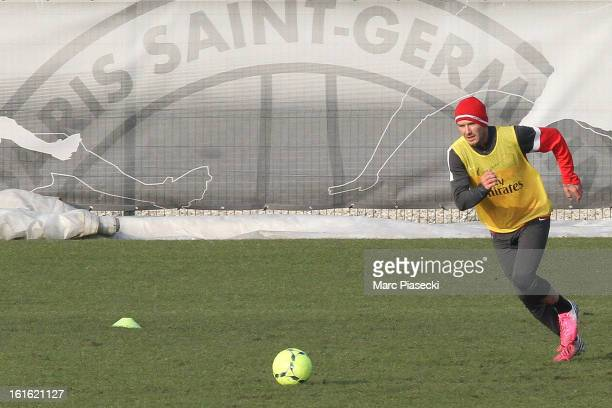 David Beckham attends his first practice session with Paris Saint Germain at Camp des Loges on February 13, 2013 in Paris, France.