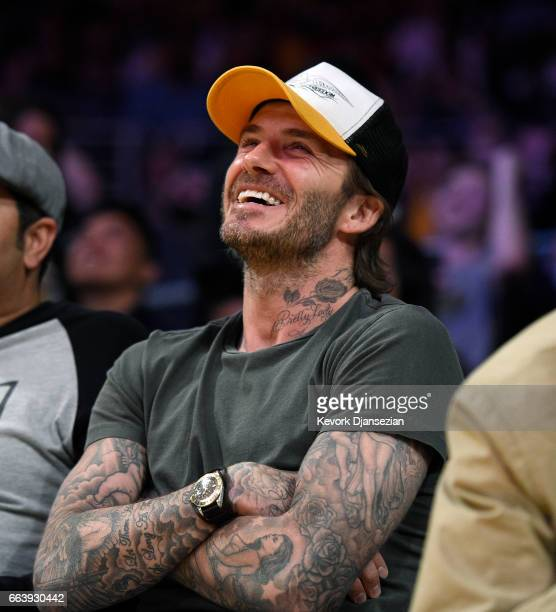 David Beckham attends Memphis Grizzlies and Los Angeles Lakers basketball game at Staples Center April 2 2017 in Los Angeles California