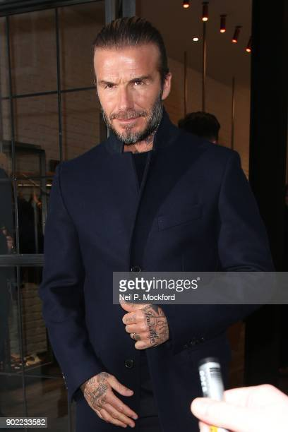 David Beckham attends the Kent Curwen Presentation at the Floral St Kent Curwen store during London Fashion Week Men's January 2018 on January 7 2018...