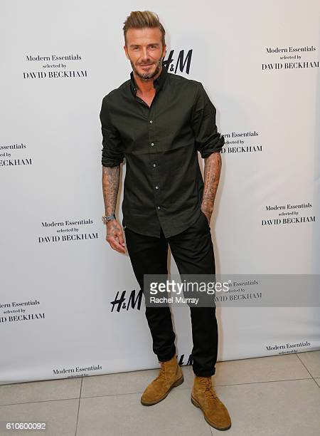 David Beckham attends the launch of David Beckham's H&M Modern Essentials Collection on September 26, 2016 in H&M at FIGat7th in Los Angeles,...