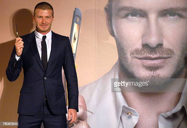 David Beckham attends the launch of Motorola's RAZR2 V8 Luxury Edition mobile phone on November 24 2007 in Beijing China