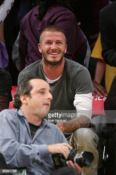 David Beckham attends the Los Angeles Lakers vs the Sacramento Kings game at the Staples Center on April 15, 2008 in Los Angeles, California.