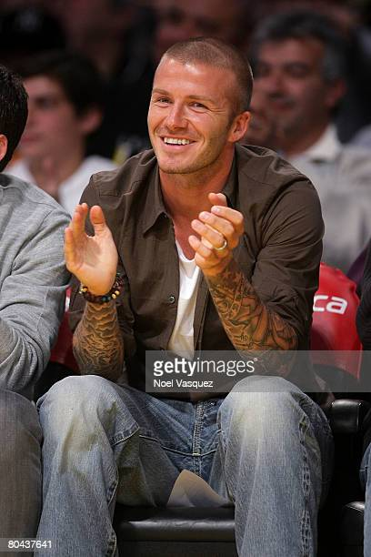 David Beckham attends the Los Angeles Lakers vs Washington Wizards game at the Staples Center on March 30 2008 in Los Angeles California