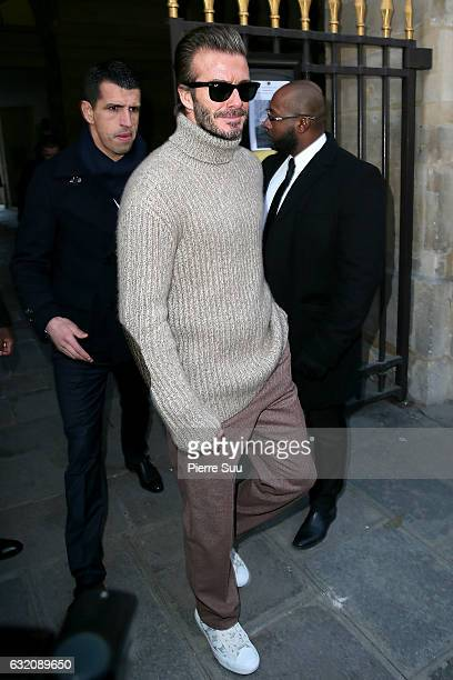 David Beckham attends the Louis Vuitton Menswear Fall/Winter 20172018 show as part of Paris Fashion Week on January 19 2017 in Paris France