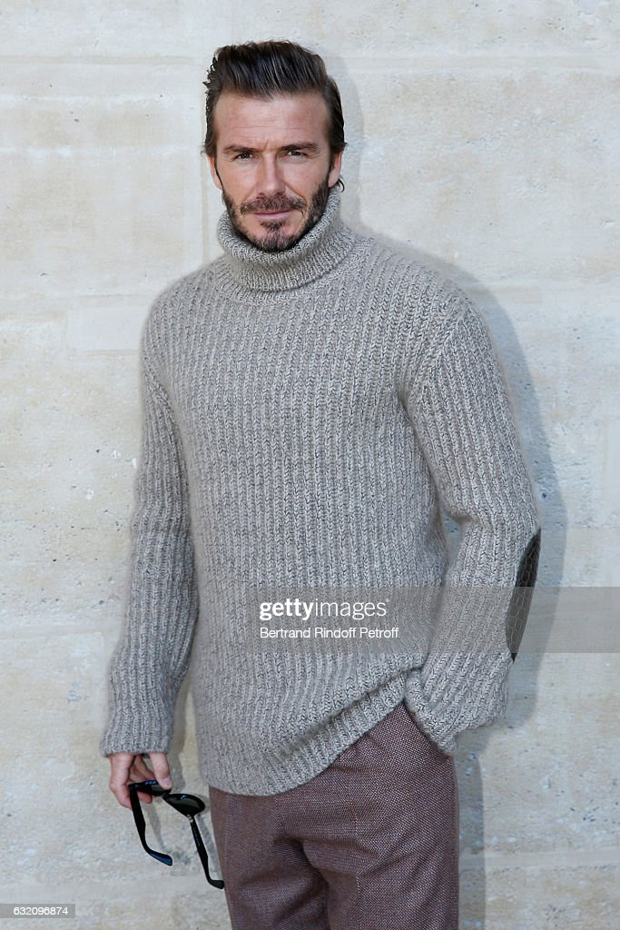 David Beckham attends the Louis Vuitton Menswear Fall/Winter 2017-2018 show as part of Paris Fashion Week. Held at Palais Royal on January 19, 2017 in Paris, France.
